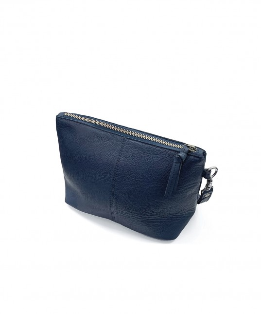 Janey Leather Clutch Indigo
