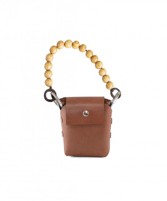 Brown Leather Phone Bag + Off white Strap & Wood handle