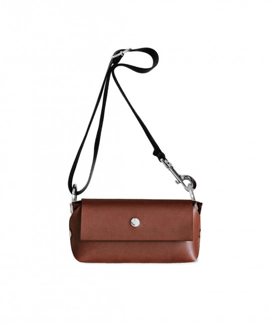 Brown Leather Mono Purse + Black Cotton Strap