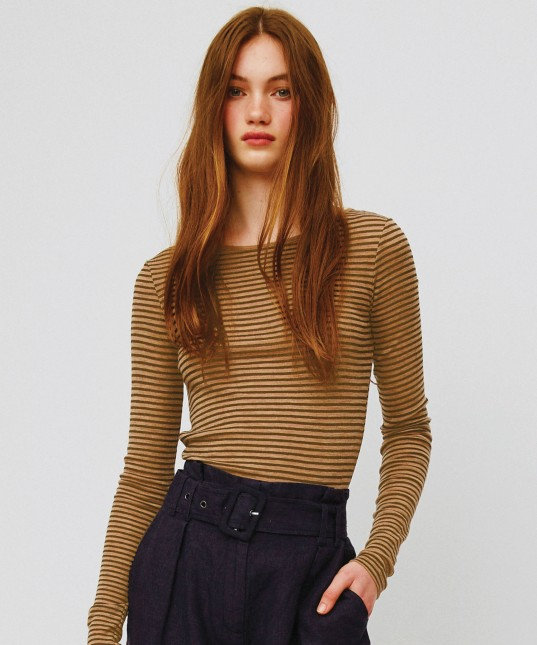 Morri Wool Round Neck Latte/Choc