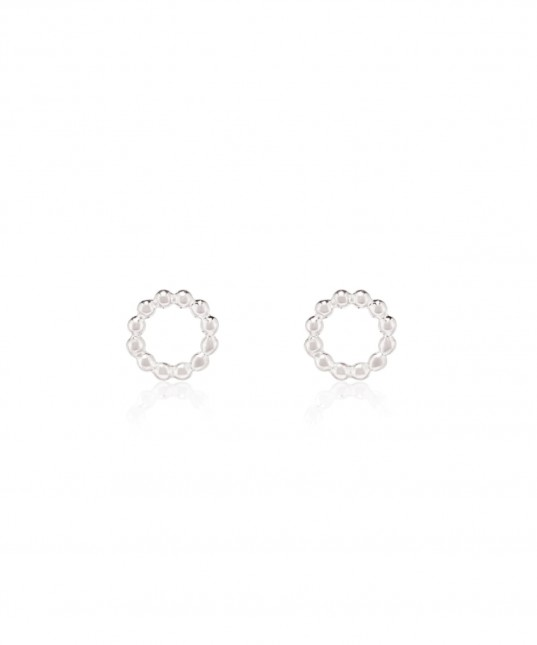 Beaded Circle Studs Sterling Silver