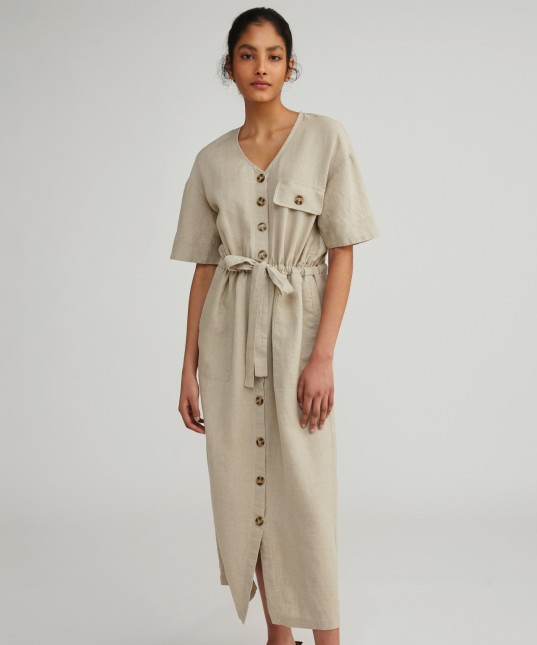 Carrie Linen Dress Natural