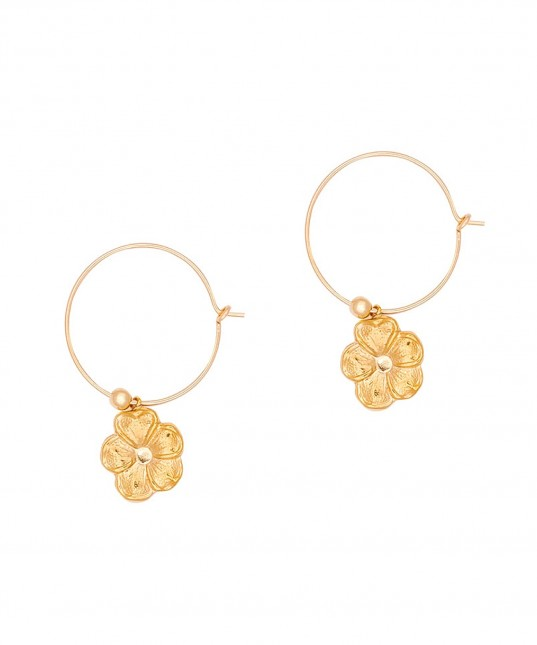 Flower Hoops Gold