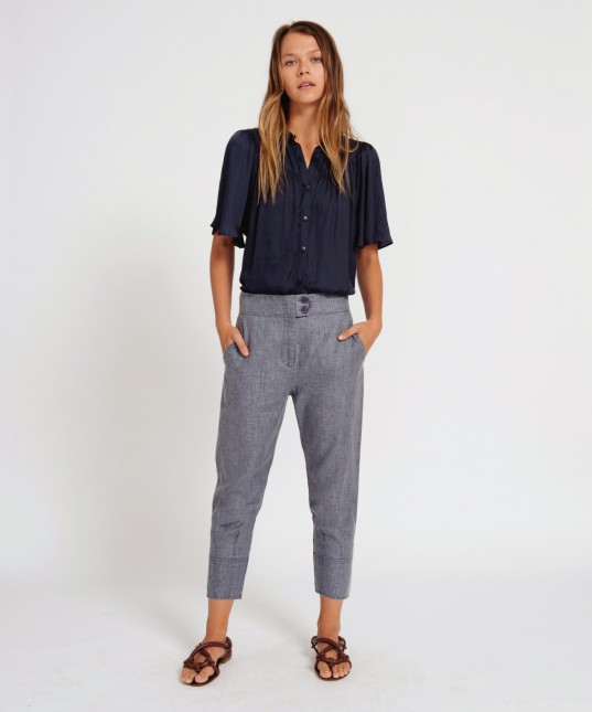 Heston Linen Pant Navy