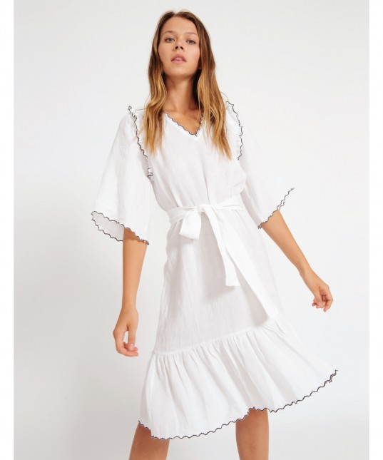 Katia Linen Dress White