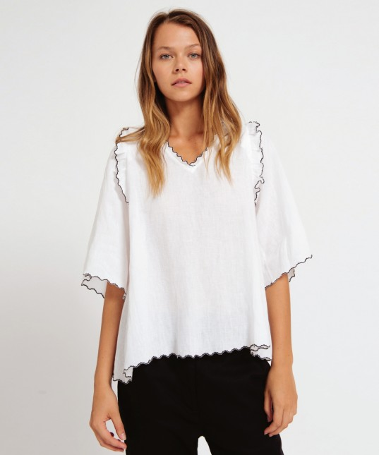Katia Linen Top White