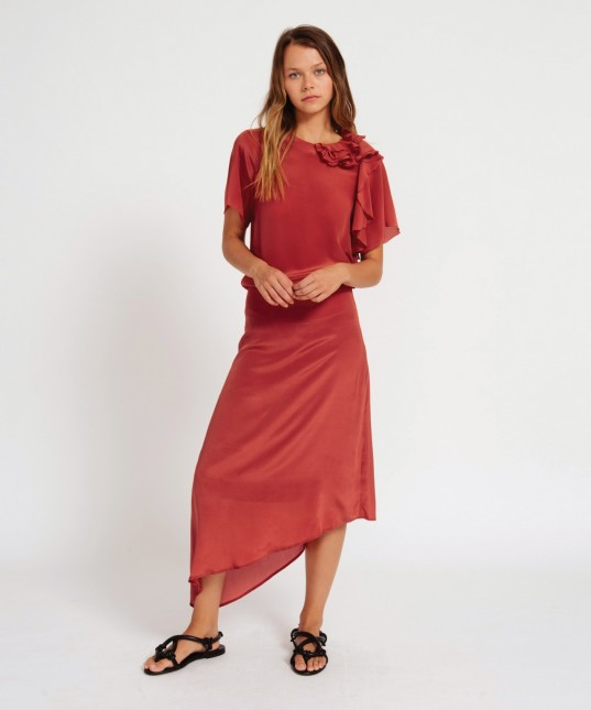 Lillian Silk Skirt Brick