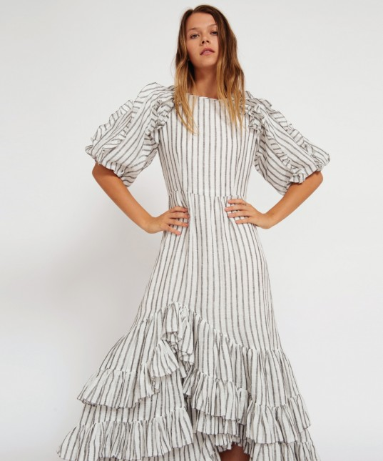 Skye Linen Dress Blk/Wht Stripe