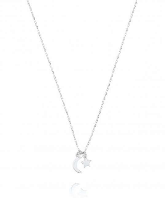 Star & Moon Necklace Sterling Silver