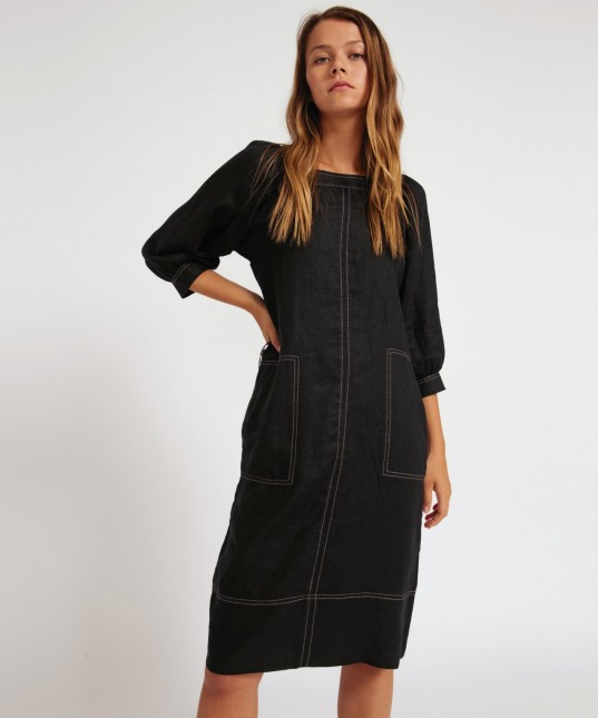 Yoko Linen Dress Black