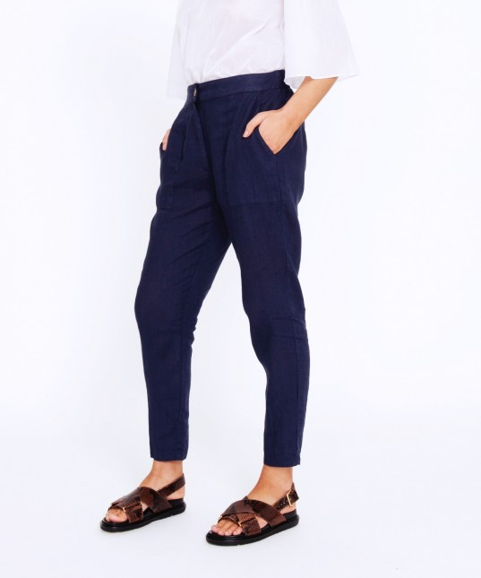 Breanna Linen Pant Navy
