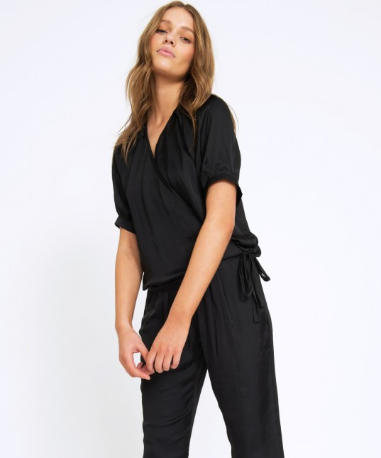 Iris Wrap Top Poet Black