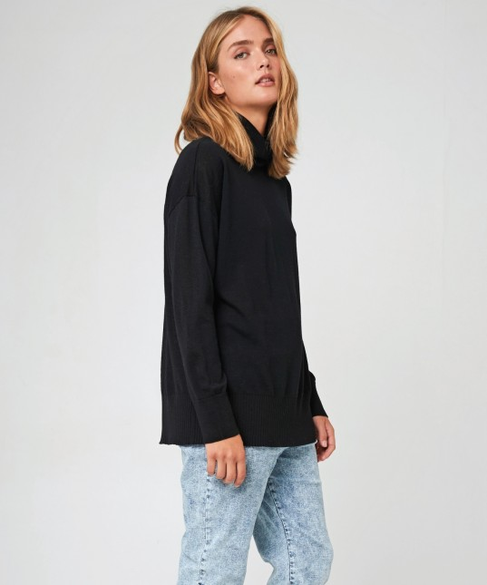 Rory Wool High Neck Pullover Black