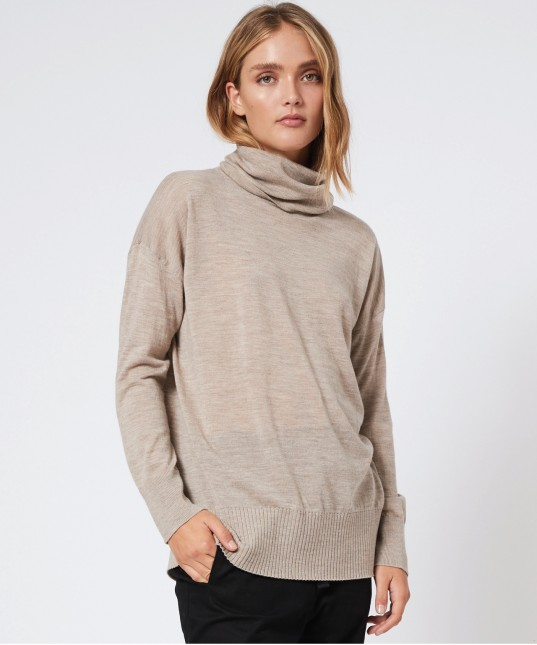 Rory Wool High Neck Pullover Stone