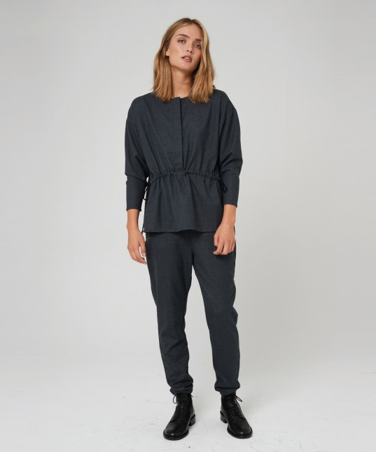 Zuri Drop Crotch Pant Charcoal