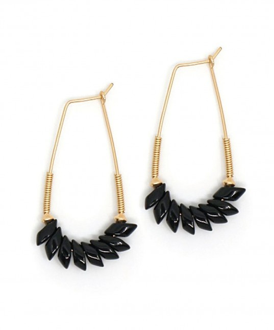 Pegasus Long Hoop Earring Black