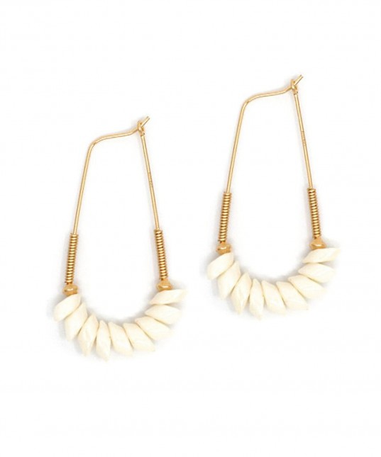 Pegasus Long Hoop Earring Cream