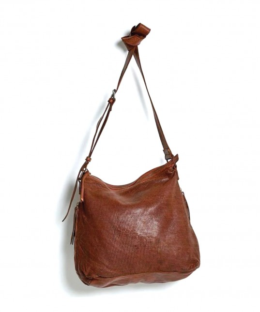 Perforated Leather Slouchy Bag Cognac