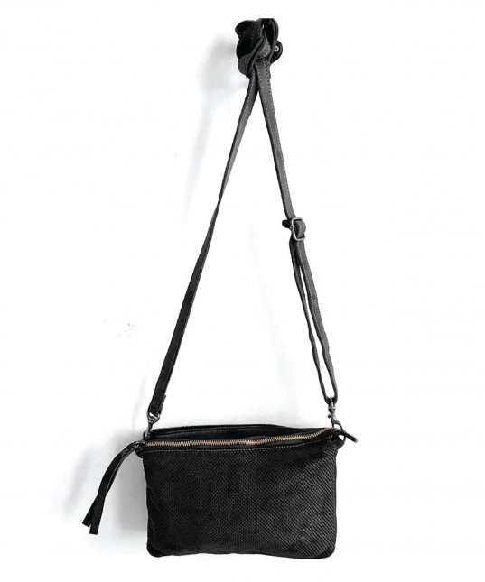 Perforated Leather Shoulder Bag Black