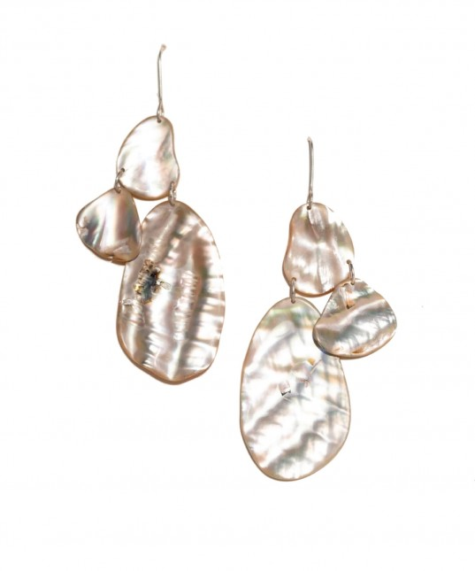 Skimming Stone Earrings Shell