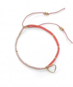 Splice Heart Bracelet Red Pink