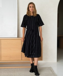 Kimora Dress Black Stripe