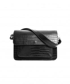 Basel Vegan Crocodile Leather Matte Bag Black