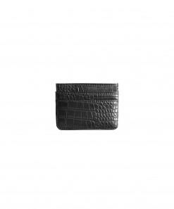 Cardholder Vegan Crocodile Leather Matte Black