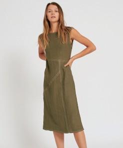 Hugo Linen Dress Olive