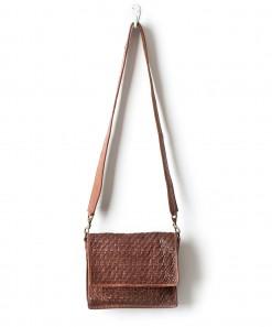Hut Leather Weave Crossbody Bag Cognac