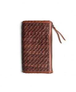 Hut Leather Weave Wallet Large Cognac