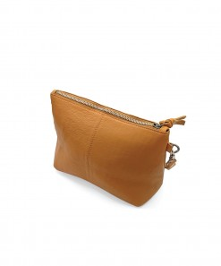 Janey Leather Clutch Tan