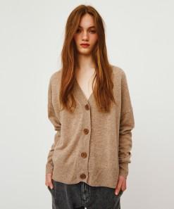 Athena Merino/Cashmere Cardigan Flax