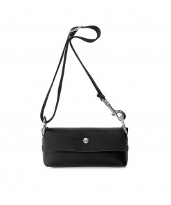 Black Leather Mono Purse + Black Cotton Strap