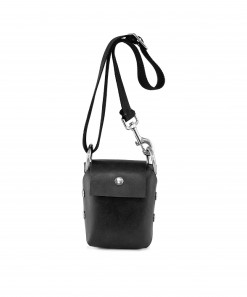 Black Leather Phone Bag + Black Cotton Strap