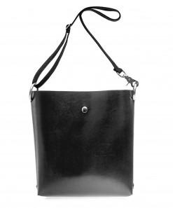 Black Leather Shoulder Bag + Black Cotton Strap