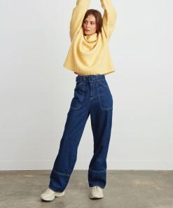 Bobbi Denim Wide Leg Jean Deep Blue