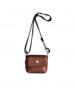Brown Leather Mini Purse + Black Cotton Strap & Wood handle
