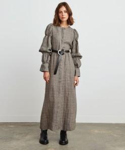 Drew Linen Dress Check
