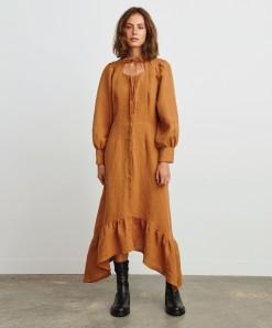 Madison Linen Dress Pecan