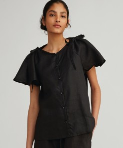 Giuliana Linen Shirt Black