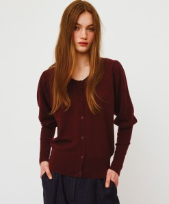 Ida Merino Wool Cardigan Burgundy