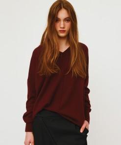 Ida V Neck Merino Wool Pullover Burgundy