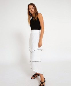 Katia Linen Skirt White