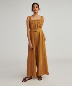 Leilani Linen Jumpsuit Mustard