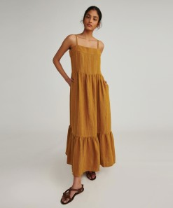 Leilani Linen Maxi Dress Mustard