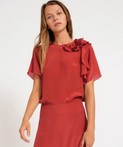 Lillian Silk Top Brick