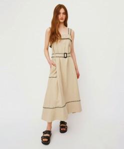 Marilyn Linen Dress Natural