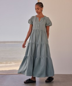 Becca Linen Maxi Dress Sea