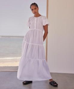 Becca Linen Maxi Dress White